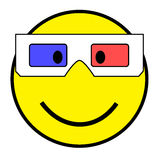 Smiley with 3D glasses Royalty Free Stock Images