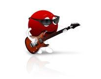 smiley 3D rouge avec la guitare Image libre de droits