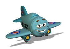 Smiley Airplane with Clipping Path Stock Images