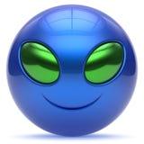 Smiley alien face cartoon cute head emoticon monster blue. Smiley alien face cartoon cute head emoticon monster ball blue green avatar. Cheerful funny smile Royalty Free Stock Photo