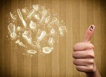 Smiley allegri del dito con le icone disegnate a mano della cucina e dell'alimento Immagini Stock