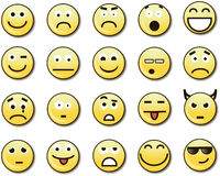 20 smiley amarelos engraçados Fotografia de Stock Royalty Free