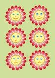Smiley amarillo hermoso y divertido en un pequeño sistema del sol Vector Foto de archivo libre de regalías