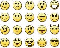 20 smiley amarillos divertidos Fotografía de archivo