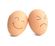 Smiley and angry egg Royalty Free Stock Photography