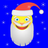 Smiley as Santa Claus. Surrounded by snowflakes Royalty Free Stock Photo
