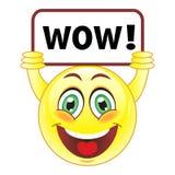 Smiley avec wouah le signe Photographie stock