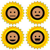 Smiley award icon set. Isolated stock illustration