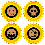 Smiley award icon set. Isolated Vector Illustration