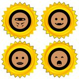 Smiley award icon set Royalty Free Stock Images