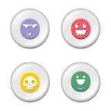 Smiley badge set. Colorful smiley badge or button set stock illustration