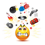 Smiley ball. With symbols of  fight and anger Royalty Free Stock Photos