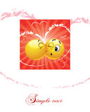 Smiley ball kissing another vector illustration