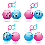 Smiley balls. Like male and female Royalty Free Stock Photo