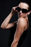 Smiley beautiful woman in sunglasses Royalty Free Stock Image