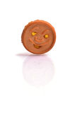 Smiley Biscuit en el baground blanco Imagenes de archivo