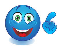 Smiley bleu avec une main dirigeant le doigt Photographie stock