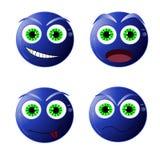 Smiley blu di divertimento, illustrazione di vettore Fotografia Stock Libera da Diritti