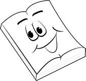 Smiling open book. Cartoon caricature of a smiling face on the open pages of a book with a white background Royalty Free Stock Image