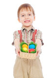 Smiley boy with Easter colorful eggs Stock Photo