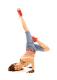 Smiley breakdancer in freeze Royalty Free Stock Photography