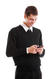Smiley businessman man typing text message Stock Image
