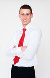 Smiley businessman with red necktie Stock Image