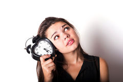 Smiley businesswoman holding alarm clock Royalty Free Stock Photo