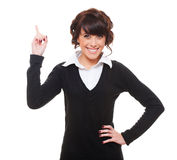 Smiley businesswoman pointing up Royalty Free Stock Photography