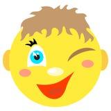 Smiley chłopiec mruga i ono uśmiecha się Zdjęcie Stock
