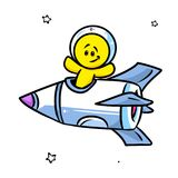 Smiley character astronaut rocket Royalty Free Stock Photos