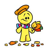Smiley character  Autumn yellow leaves Royalty Free Stock Photo