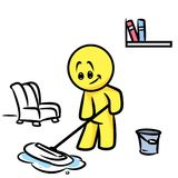 Smiley character  cleaning mop floor Stock Image