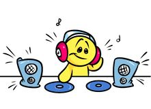 Smiley character DJ music Royalty Free Stock Image