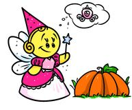 Smiley character  Fairy Cinderella pumpkin Royalty Free Stock Photos