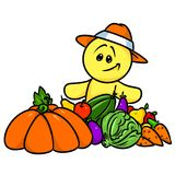 Smiley character fruit vegetables harvest Stock Photo