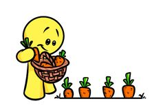 Smiley character gardener carrot Royalty Free Stock Images