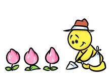 Smiley character gardener flowers tulips Royalty Free Stock Photography