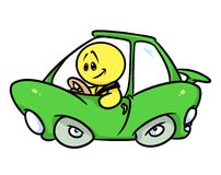 Smiley character green car driver Royalty Free Stock Photography