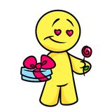 Smiley character Love gift Royalty Free Stock Photos