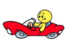Smiley character red convertible car Royalty Free Stock Photo