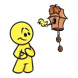 Smiley character time cuckoo clock Royalty Free Stock Photos