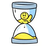 Smiley character time hourglass Royalty Free Stock Image