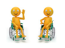 Smiley characters on a wheelchair Royalty Free Stock Images