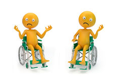 Smiley characters on a wheelchair Royalty Free Stock Photo