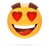 smiley Charakter in der Liebe Ikonen-Art Glückliches Gesichtsvektor illustr Stockbilder