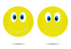 Smiley cheerful and sad. Happy smiley icon, smile emoticon character, face cartoon sadness illustration Royalty Free Stock Images