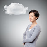 Smiley cheerful woman with cloud Stock Photography