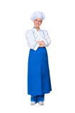 Smiley chef in blue apron Royalty Free Stock Photography