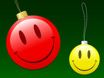 Smiley christmas baubles Stock Photos
